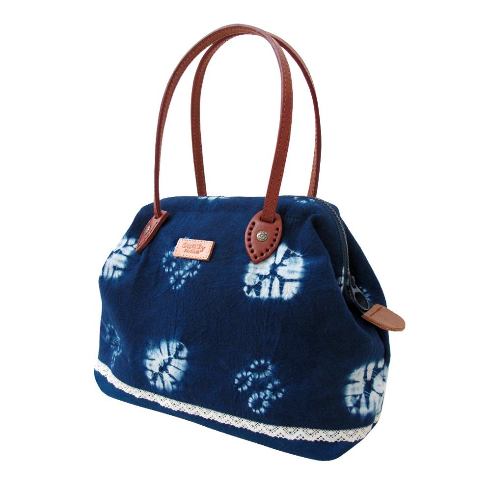 藍染手作ㄇ型手提包(中)
